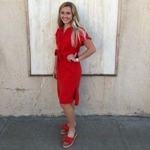 Madewell Linen Dress XS Orange Belted Midi
